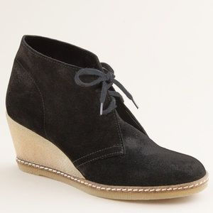 J. Crew McCallister Black Suede Wedge Boots Size 7